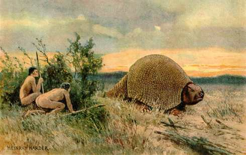 Early Americans stalk a glyptodon.