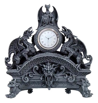Contemporary Resin Gothic Dragon Clock from Artwork