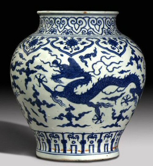 Blue on green asian pottery