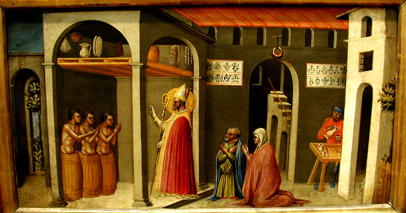 St. Nicholas Resuscitating Three Youths (Bicci di Lorenzo, ca.  1430s, tempera)