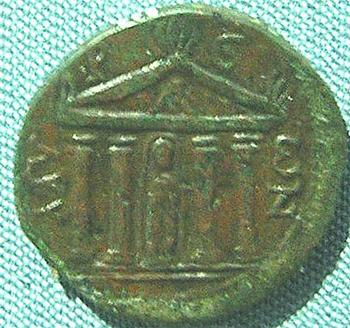 A Roman Coin depicting the Temple of Artemis at Myra