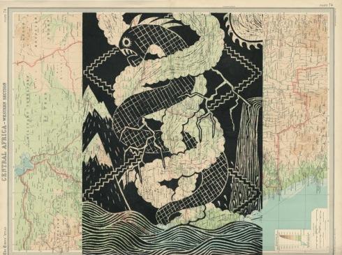 Inkanyamba linocut by Kate Rowland