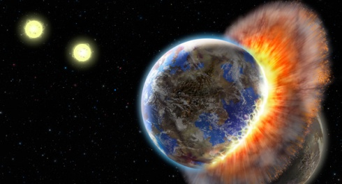 Pshh ha ha ha! I mean, um, the planet Nibiru collides with Earth (artist's conception)