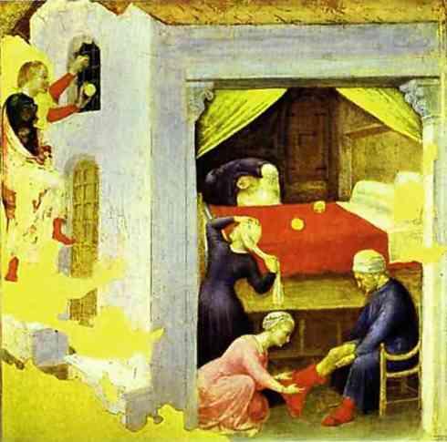 St. Nicholas and the Three Gold Balls, From the predella of the Quaratesi triptych from San Niccolo (Gentile da Fabriano, AD 1425, tempera on panel)
