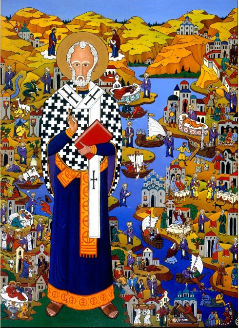 "Life and Miracles of Saint Nicholas, by Alexander Boguslawski, Professor of Russian Studies, Rollins College, Winter Park, Florida. Professor Boguslawski's dissertation (1982), ""The Vitae of St. Nicholas and His Hagiographical Icons in Russia,"" provided the background for the painting"