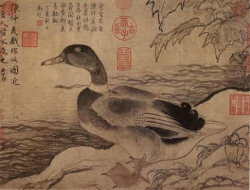 Waterfowl (Chen Lin, Yuan dynasty, ink and watercolor on silk)