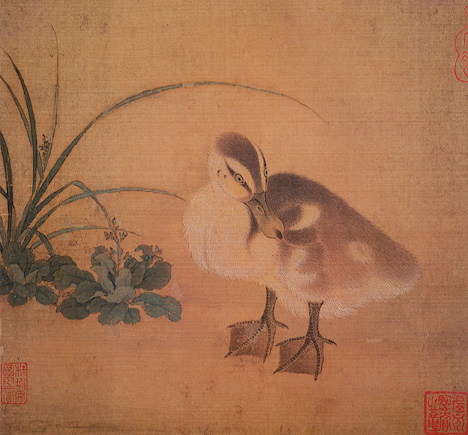 Duckling (Artist Unknown, Song Dynasty, ink and watercolor on silk)