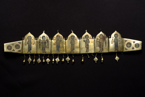 Diadem with Deesis (Unknown Goldsmith & artist, Kiev, 12th century AD, Gold with cloisonné enamel)