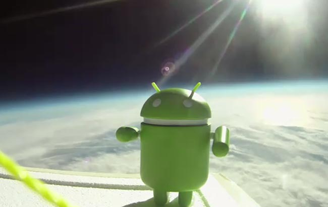 The World Famous Android Mascot--Actually in Outer Space (It is good to have Google's budget)