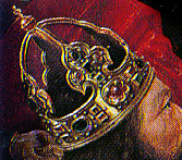 """The Crown of Charlemagne (In a detail from """"The Mass of Saint Giles"""" painted in 1550"""