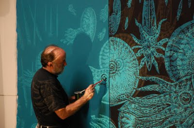 "Ray Troll painting large amoonites for ""Night of the Ammonites"" exhibit at Seattle's Burke Museum"