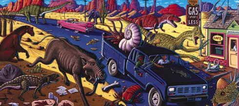'Crusin' the Fossil Freeway' by Ray Troll (the artist is visible on the driver's side)