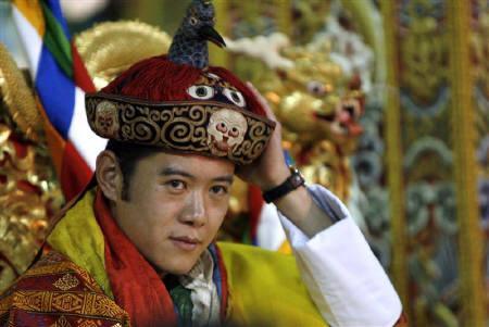 Jigme Khesar Namgyel, the current King of Bhutan, wearing the Raven Crown