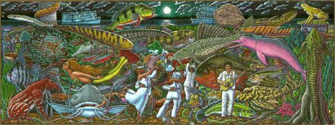 """""""The Encante"""", (Ray Troll, 2004, colored pencil on paper, 11"""" x 30"""")"""