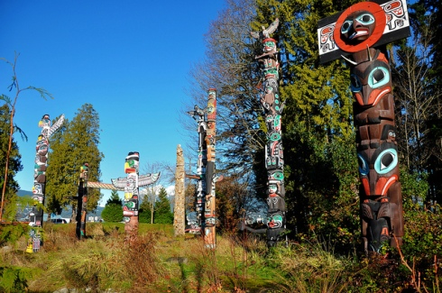 Native American Art sculptures in Stanley Park Vancouver BC