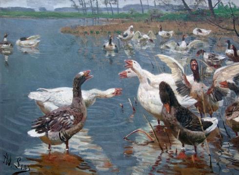 Gänse am Weiher (Adolf Lins, oil on canvas)