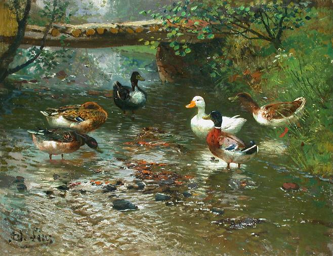 Enten am Flußufer (Adolf Lins)
