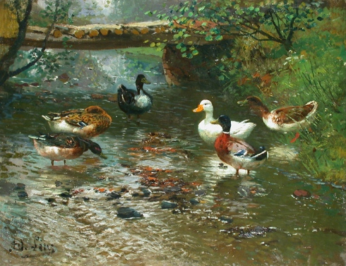 Enten am Flußufer (Adolf Lins)