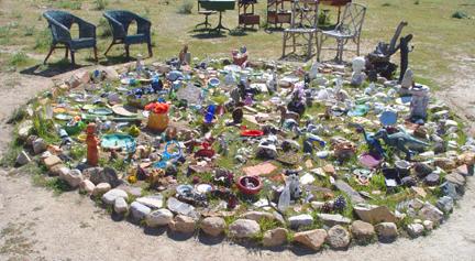 """Miniature """"Outsider Garden"""" theme: Pearls Before Swine (High Desert, California)"""