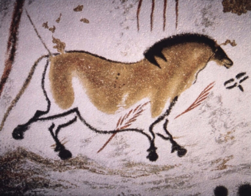 Cave painting of a grullo wild horse from Lascaux, France (ca 15,000-10,000 BC)