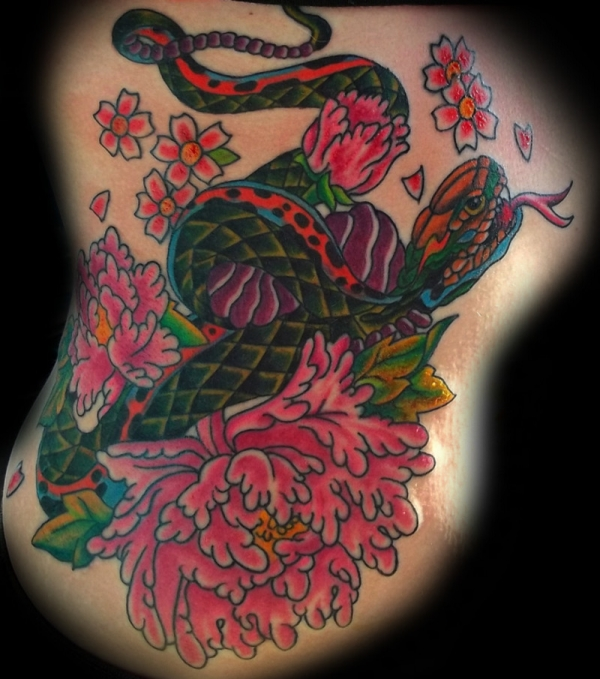 Snake Flower Tattoo: Snakes & Hearts