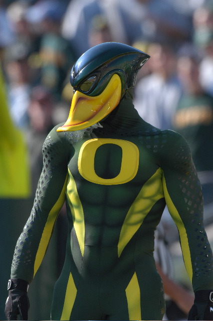 The mascot of the Oregon Ducks! What is going on here?