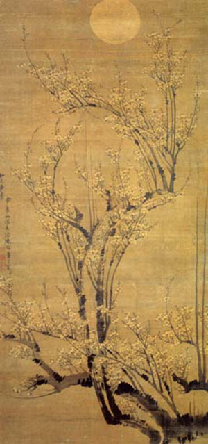 Plum Blossom and the moon (72.8*155.7 cm, by Chen Lu, Ming Dynasty)