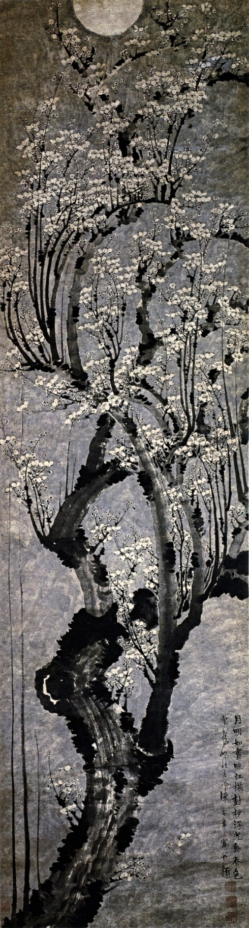 Plum Blossoms, hanging scroll, ink on paper