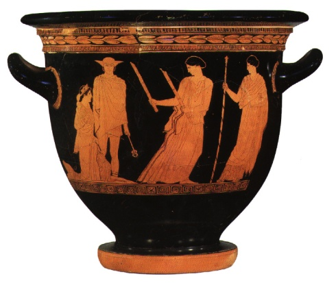 The Return of Persephone (Attic Red Figure Vase, Greek Classical Period)