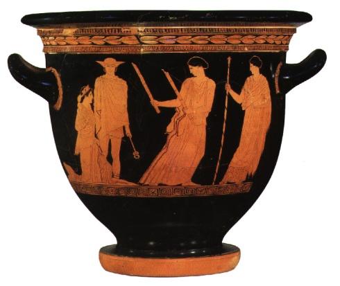 The Return of Persephone (Attic Red Figure Vase, Greek Classical Period)