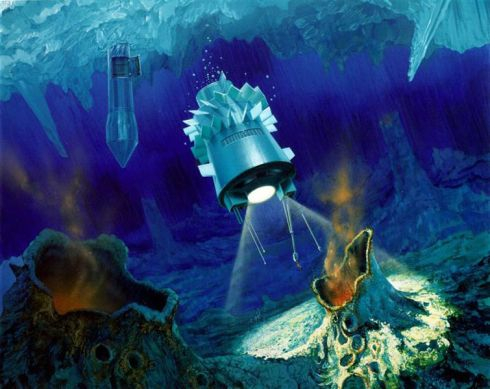 Artist's concept of the cryobot and hydrobot probes (NASA)