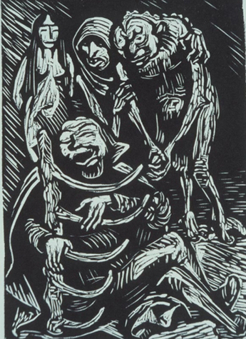 Illustration to Walgurgisnacht by Goethe (Ernst Barlach, ca 1920s, woodblock print)