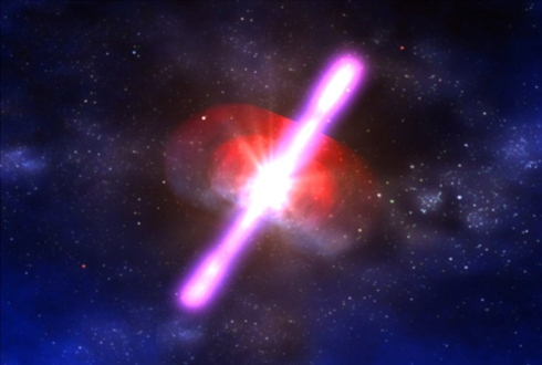 Artist's conception of a gamma-ray burst. (Credit: NASA.)