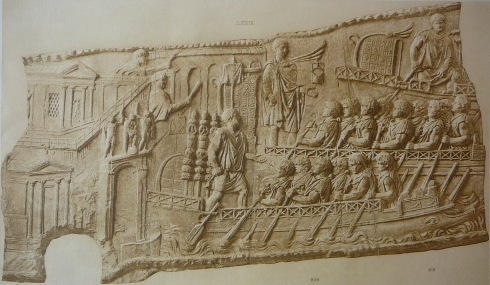 Liburnians of the Danube fleet during Trajan's Dacian Wars (BAs Relief from Trajan's column, 118 AD)