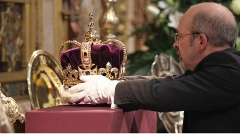 The crown visits Westminster Abbey yesterday