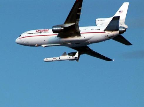 "A Pegasus Rocket launched from Orbital's airplane ""Stargazer"""