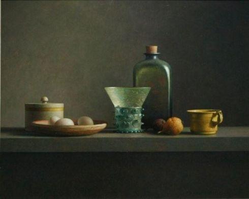 Fles Berkemeyer en keukenattributen (Henk Helmantel, oil on panel)