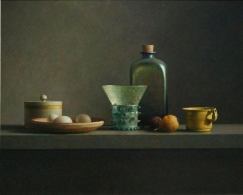 Fles Berkemeyer en keukenattributen (Henk Helmantel, oil on panel)