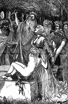 """The Victim"" An Illustration by AB Houghton for Tennyson's poem (engraving,1868)."