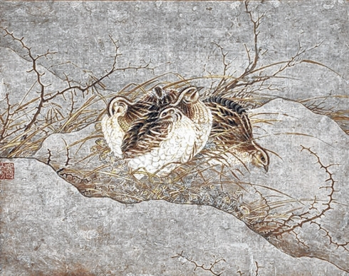 Five Quail (Anonymous, 13th century, Hanging scroll, ink and color on paper)