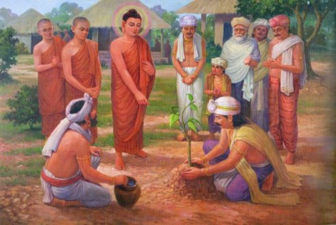 Buddha oversees the planting of a Bodhi Tree Sapling