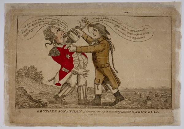 Brother Jonathan Aggressively Chokes John Bull with stomach-ache-causing raw pear juice!
