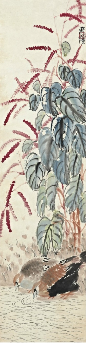 Smartweed and Quails (Qi Baishi, ca. first half of twentieth century, ink and watercolor on scroll)