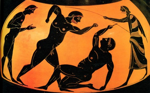 Ancient Attic Pottery Showing the Sport of Pankration