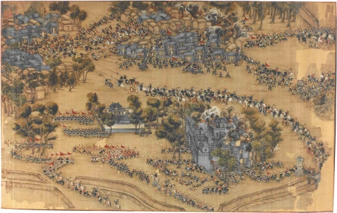 "Scroll painting from ""Ten scenes recording the retreat and defeat of the Taiping Northern Expeditionary Forces,February 1854-March 1855."""