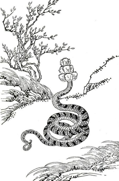 Xiangliu, the nine-headed snake monster, first minister of Gonggong the terrible