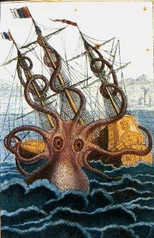 The colossal octopus (Pierre Dénys de Montfort, 1801, pen and wash drawing)