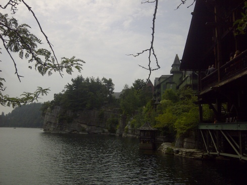 The Mohonk Mountain House looms over Mohonk Lake