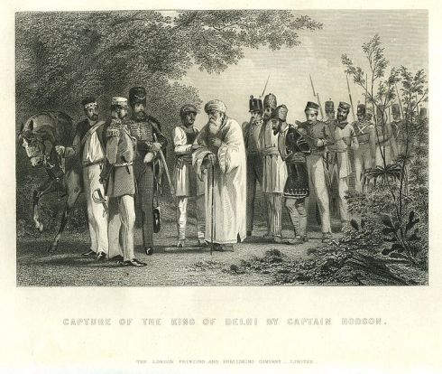 Capture of the King of Delhi by Captain Hodson (steel engraving)