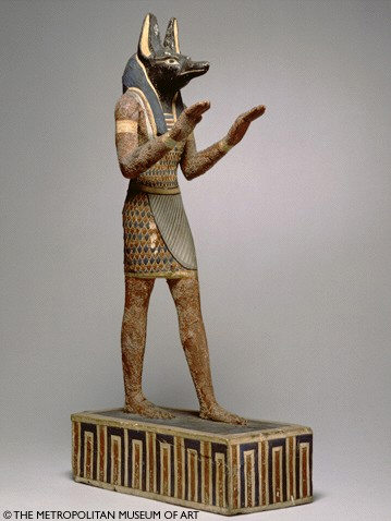 Statuette of the god Anubis, ptolemaic Period 304-30 B.C., wood with gesso and paint